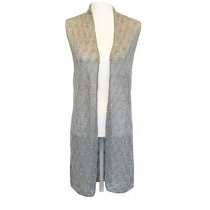 Eileen Fisher | Gray Wool Knit Sleeveless Cardigan